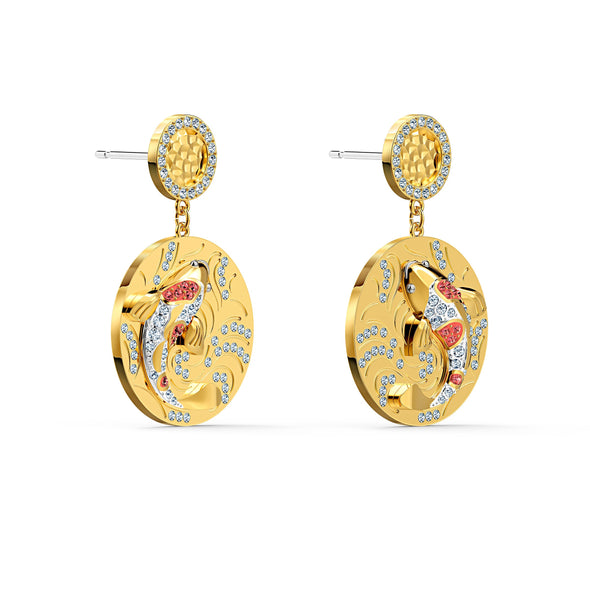 Shine Fish Pierced Earrings, Red, Gold-tone plated