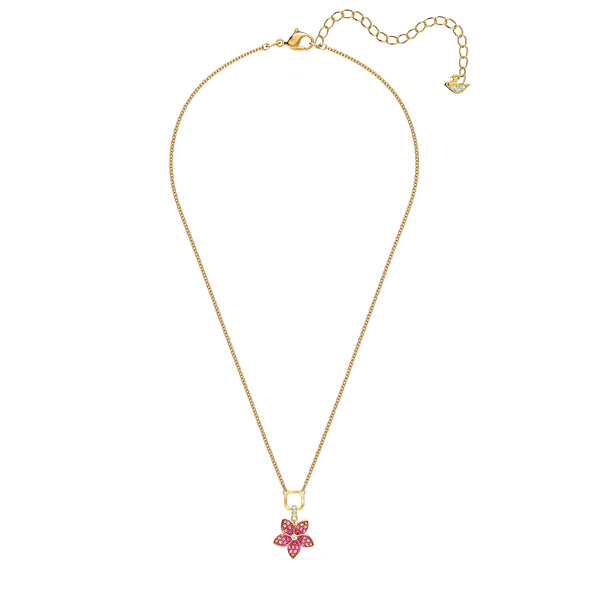 Tropical Flower Pendant, Pink, Gold-tone plated