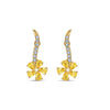Botanical Flower Pierced Earrings, Yellow, Gold-tone plated