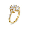 Botanical Flower Ring, White, Gold-tone plated
