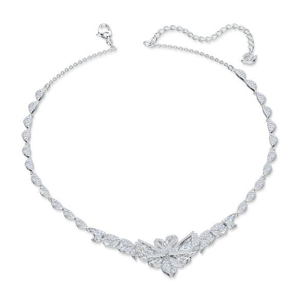 Dancing Swan Necklace, White, Rhodium plated