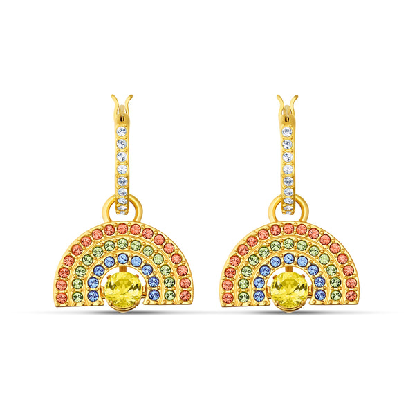 Swarovski Sparkling Dance Rainbow Pierced Earrings, Light multi-coloured, Gold-tone plated