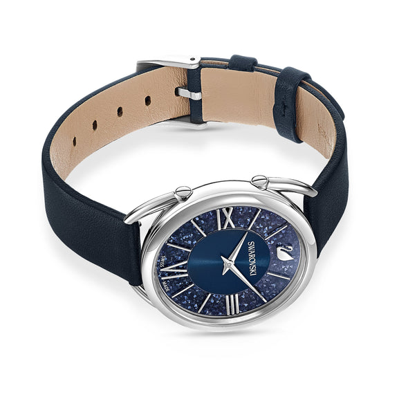 Crystalline Glam Watch, Leather strap, Blue, Stainless steel
