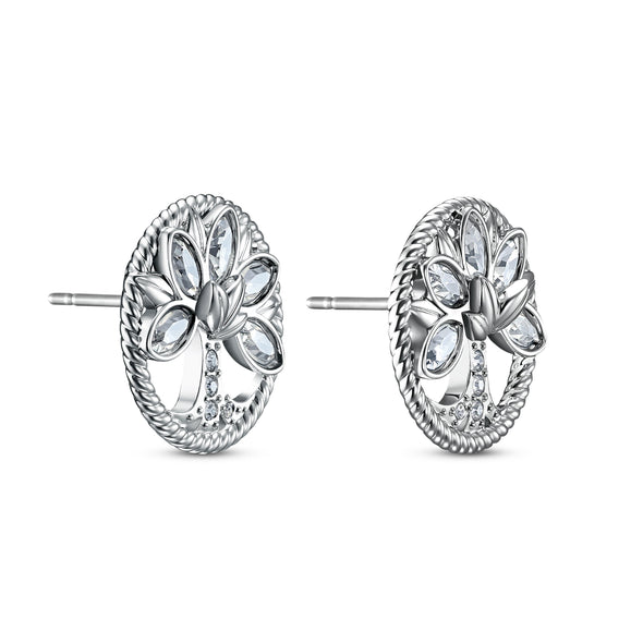 Swarovski Symbolic Tree of Life Stud Pierced Earrings, White, Rhodium plated