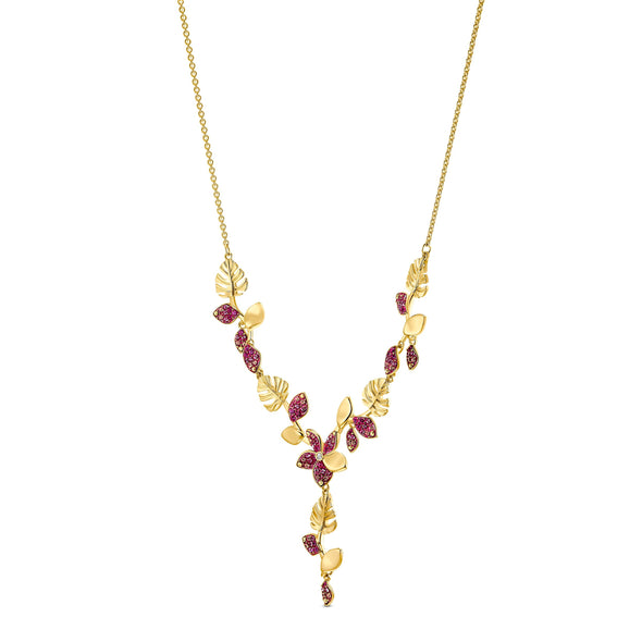 Tropical Flower Y Necklace, Pink, Gold-tone plated