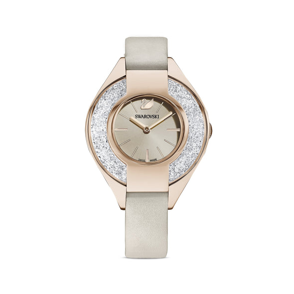 Crystalline Sporty Watch, Leather strap, Gray, Champagne-gold tone PVD