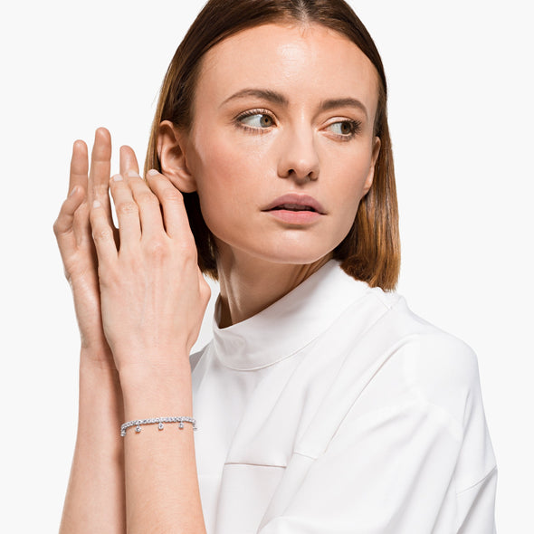 Subtle Drops Bracelet, White, Rhodium plated