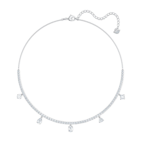Tennis Deluxe Mixed Choker, White, Rhodium plated