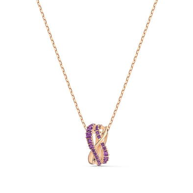 Twist Rows Pendant, Purple, Rose-gold tone plated