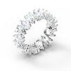 Vittore Pear Ring, White, Rhodium plated