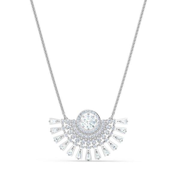 Swarovski Sparkling Dance Dial Up Necklace, Medium, White, Rhodium plated
