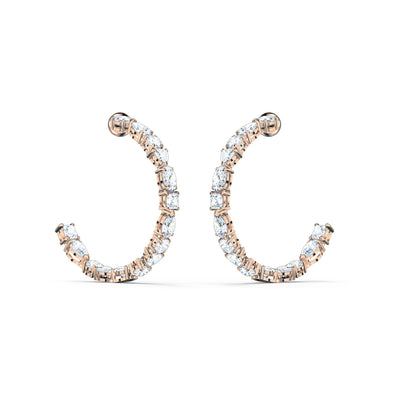 Tennis Deluxe Mixed Hoop Pierced Earrings, White, Rose-gold tone plated