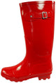 New Womens Rain Boots Rubber Solid Color Hi Height Wellie Hi Calf Snow Rainboots, 38740