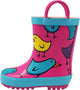 Norty Big Kids Boys Girls Waterproof Rubber Printed Rain Boots - 13 Patterns, 40145