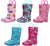 Norty Toddlers Little Big Kids Girls Waterproof PVC Light Up Rain Boots, 41274
