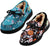 NORTY Toddler/Little Kid/Big Kid Fabric Printed Suede Trim Moccasin Slippers - Runs 1 Size Small