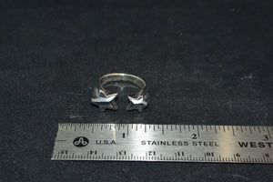 Silver Binary Star Ring Size 7