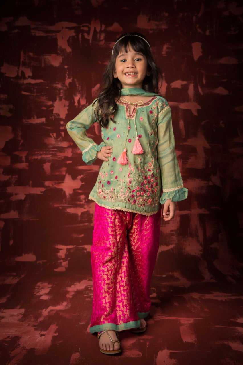 KDD-01042 | Pistachio & Shocking Pink | Formal 3 Piece Suit | Banarsi Net