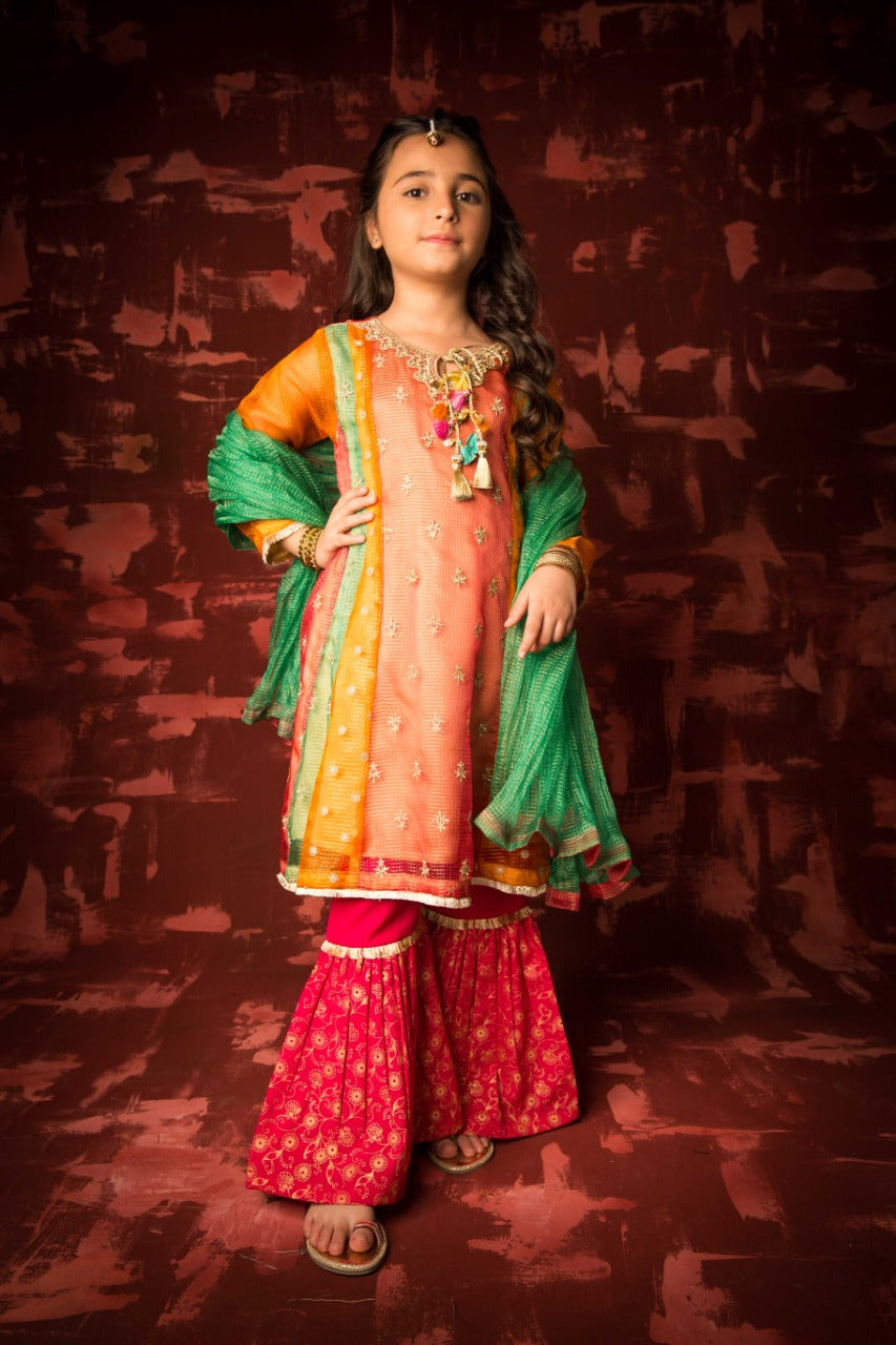 KDD-01320 | Shocking Pink & Multicolor | Formal 3 Piece Suit | Banarsi Masuri