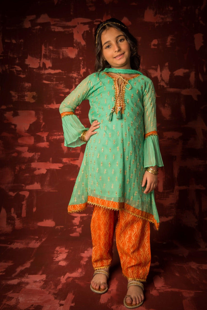 KDD-01317 | Sea Green & Orange | Formal 3 Piece Suit | Polyester Crinkle
