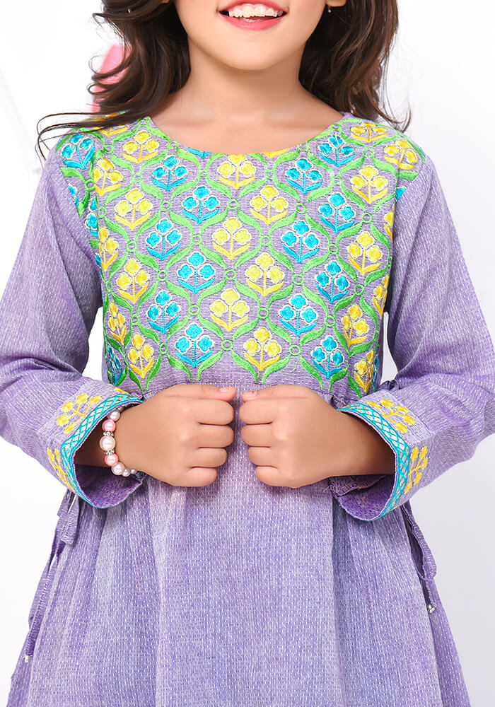 Purple Chamray Top With Embroidery