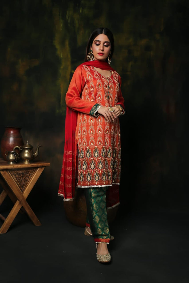 LDD-01161 | Orange & Green | Formal 3 Piece Suit | Banarsi Khaddi Net