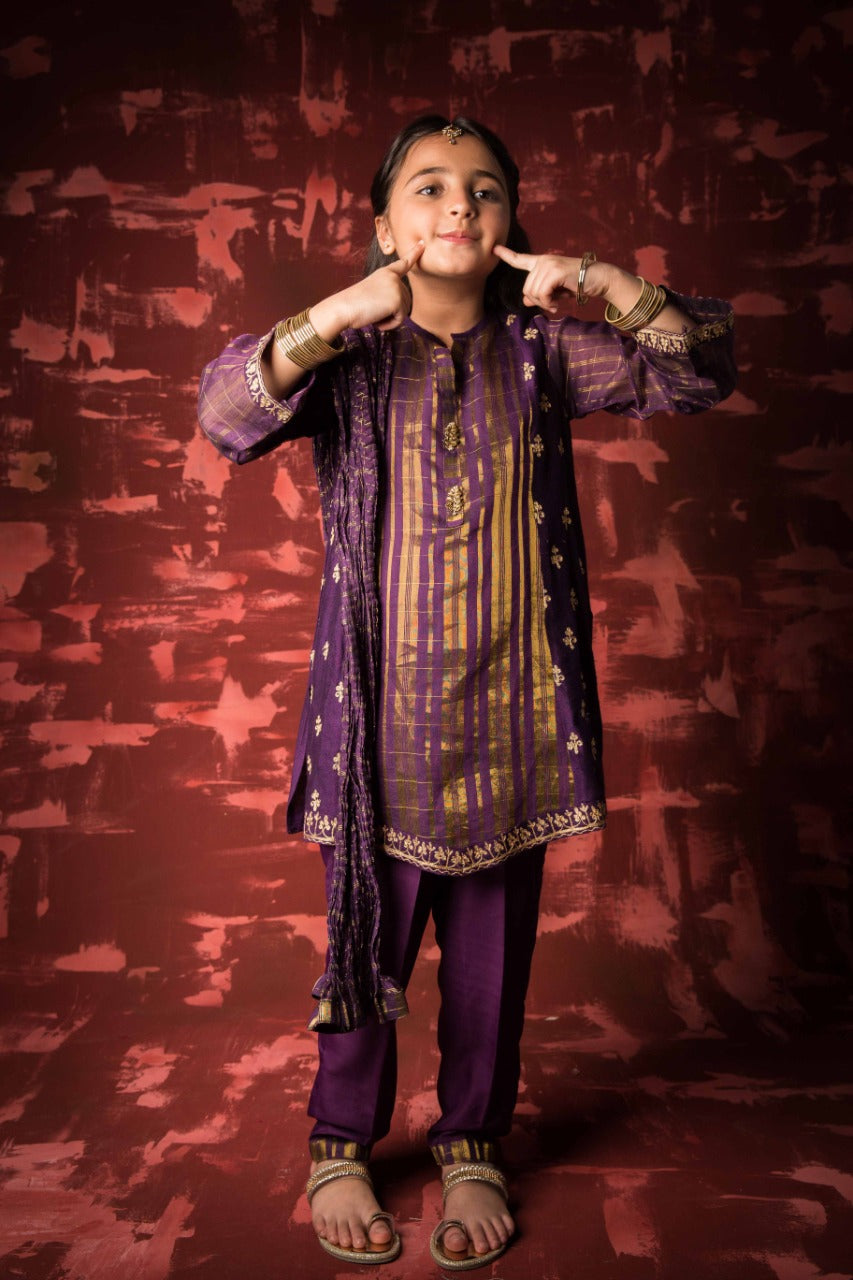 KDD-01319 | Purple | Formal 3 Piece Suit | Banarsi Khaddi Net