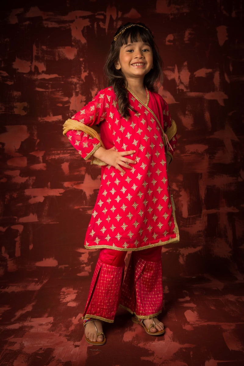 KDD-01300 | Shocking Pink | Formal 3 Piece Suit | Polyester Crinkle