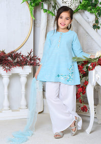 OFK 704 - Blue Chambray Cotton - 3PC Suit