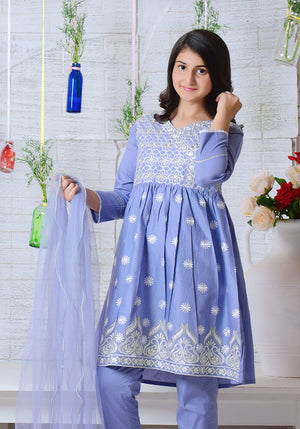 Blue Cotton Top with Embroidery - 3PC Suit