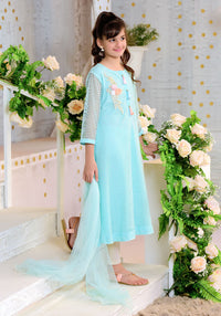 Mint Green Net with Applique Embroidered - 3PC Suit