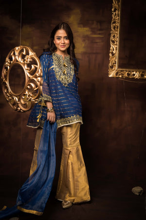 GDD-01414 | Blue | Formal 3 Piece Suit | Banarsi Khaddi Net