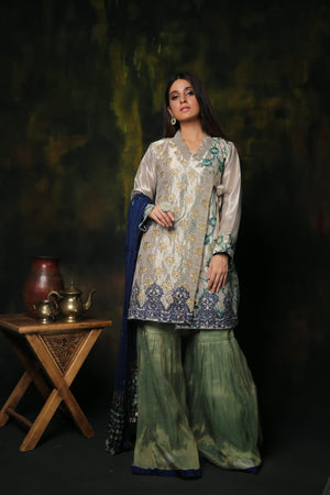 LDD-00911 | Silver & Green | Formal 3 Piece Suit | Banarsi Organza