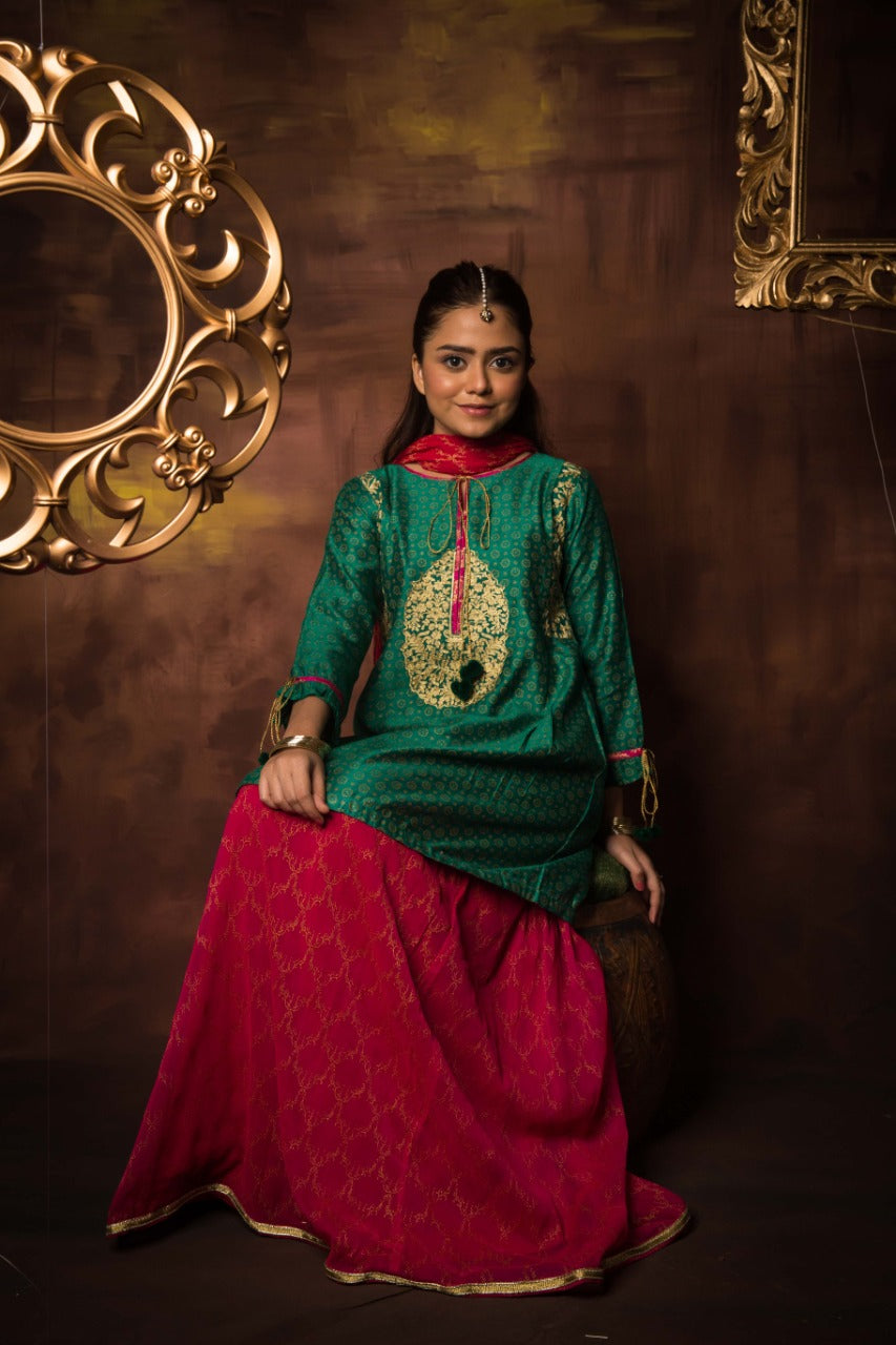GDD-01039 | Tea Green & Shocking Pink | Formal 3 Piece Suit | Banarsi Net