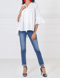 WTB17410 Flared Top w/ Peplum Sleeves - Komal's