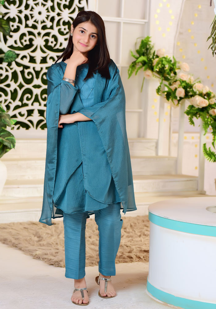 Teal Blue Chiffon Top with Trouser - 3PC Suit