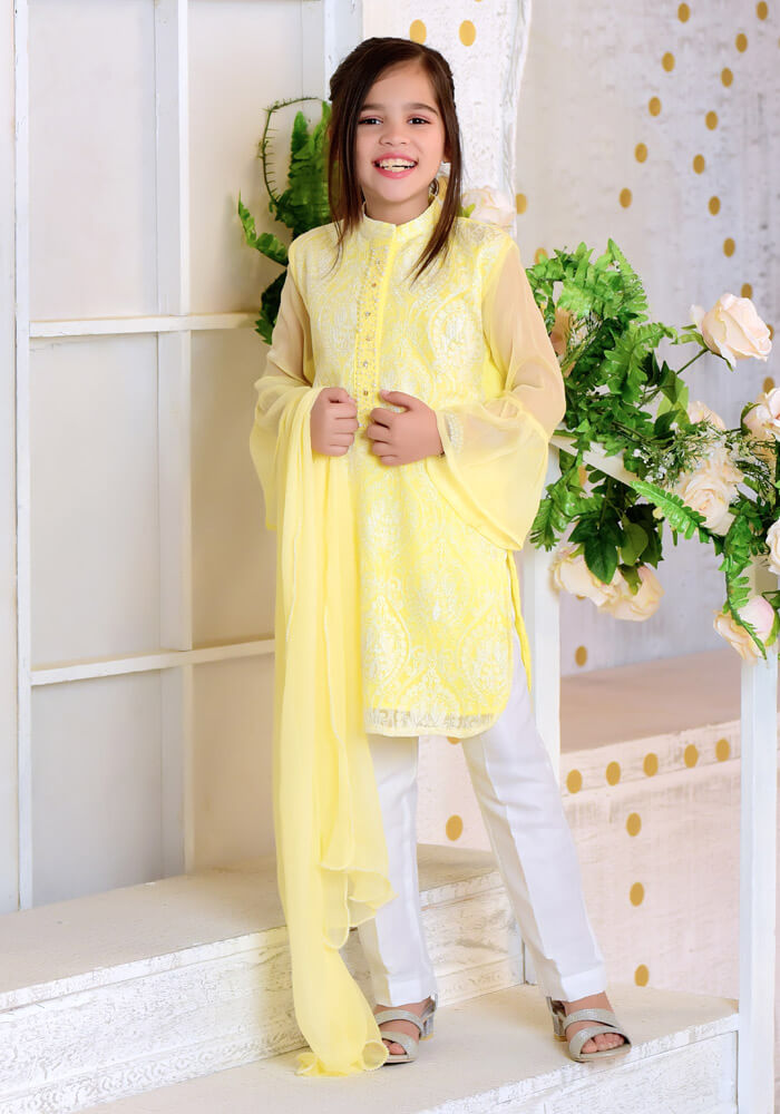 OFW 229 - Lemon Yellow Chiffon with Embroidery - 3PC Suit