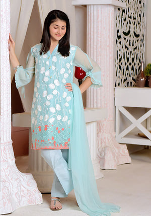 OFW 230 - Mint Chiffon Fully Embroidered - 3PC Suit