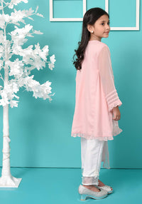 Tea Pink Chiffon Top with Embroidery - 3PC Suit