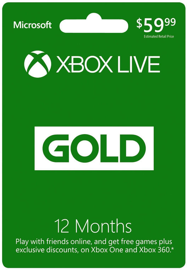 Microsoft Xbox LIVE 12 Month Gold Membership Gift Card