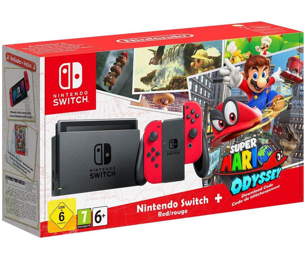 Nintendo Switch 32GB Super Mario Odyssey Edition Bundle Red Joy-Con