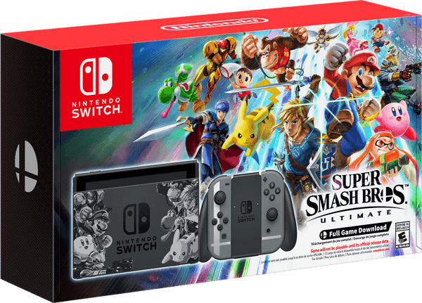 Nintendo Switch 32GB Super Smash Bros Ultimate Bundle Grey Joy-Con