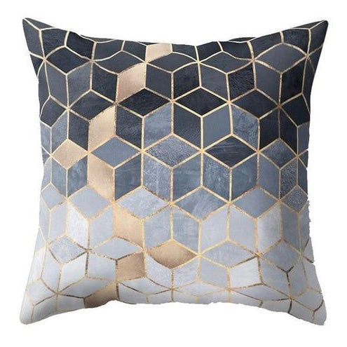 Blue Golden Mosaic Pillow Case