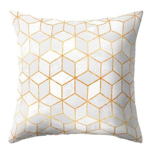 White Golden Mosaic Pillow Case