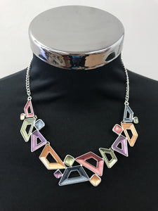 Enameled Style Necklace and Earrings Set with Abstract Trapezium shapes