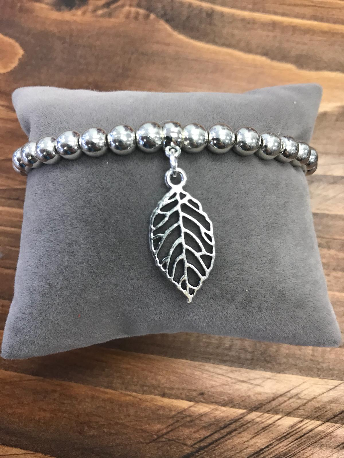 Silver Coloured Bracelet with Leaf Charm