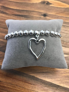 Silver Coloured Bracelet with Heart Charm