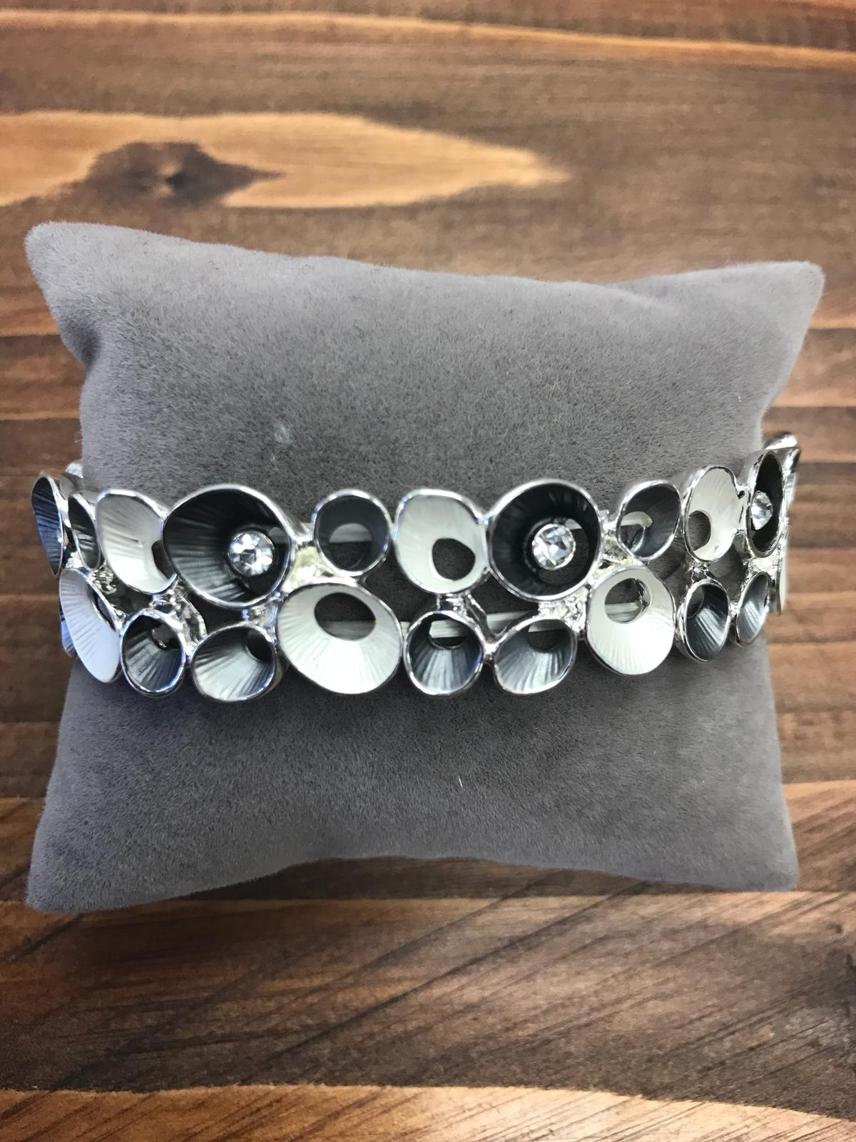 Enameled Style Bracelet with Black and White Stylized Flowers