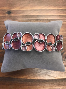 Enameled Style Bracelet with Orange / Copper Circles