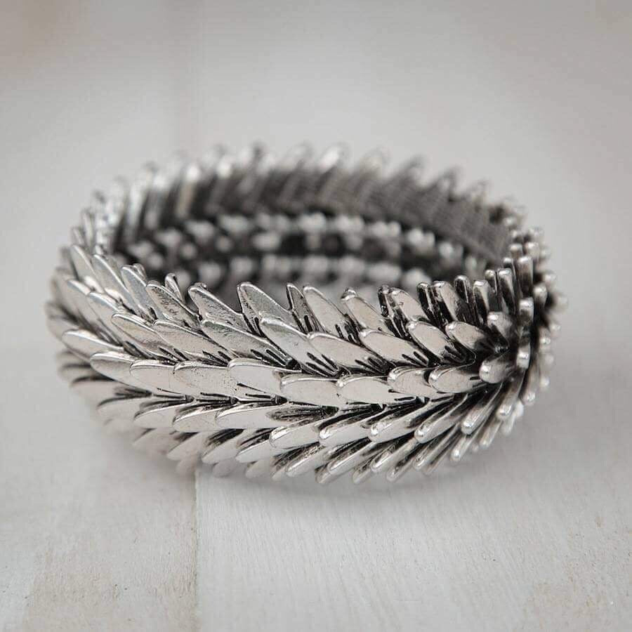 Chunky Silver Coloured Feather Bracelet